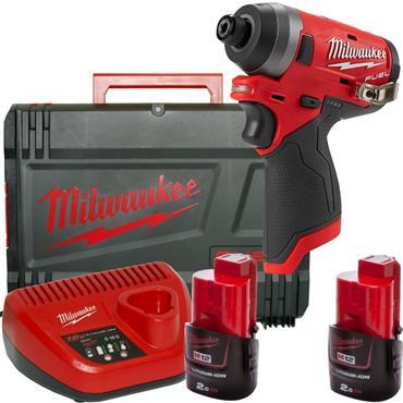 "Milwaukee M12FQID-202X FUEL Hydraulic 1/4"" Hex Impact Driver 2x2Ah Batteries, Charger, Kit-Box"