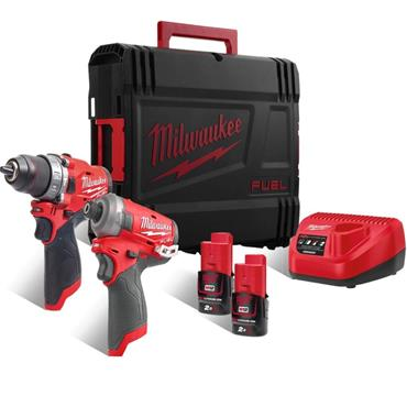 Milwaukee M12FPP2AQ-202X 12v FUEL Twin Pack Combo Kit, 2x 2Ah Batteries, Charger and Kit-Box