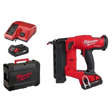 Milwaukee M18FN18GS-202X 18v FUEL 18 Guage Finish Nailer, 2x2Ah Batteries, Charger & Kit-Box