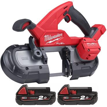 Milwaukee M18FBS85-202C 18v FUEL Compact Bandsaw, 2x 2Ah Batteries, Charger, Kit-Box