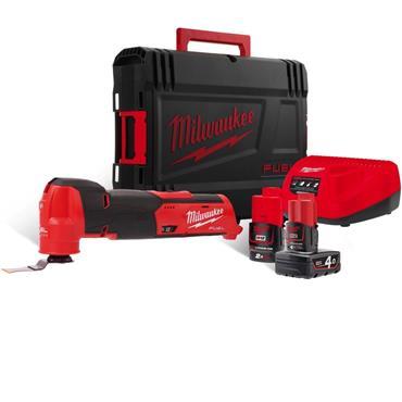Milwaukee M12FMT-422X 12v FUEL Compact Multitool, 1x 2Ah & 1x 4Ah Batteries, Charger, Kit-Box