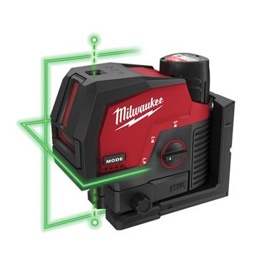 Milwaukee M12CLLP-301C 12v Green Cross Line Laser, 1x 3Ah Battery, Charger, Kit-Box