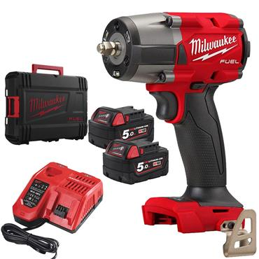 "M18FMTIW2F12-502X 18v 1/2"" Mid-Torque Impact Wrench, 2x 5Ah Batteries, Charger, Kit-Box"