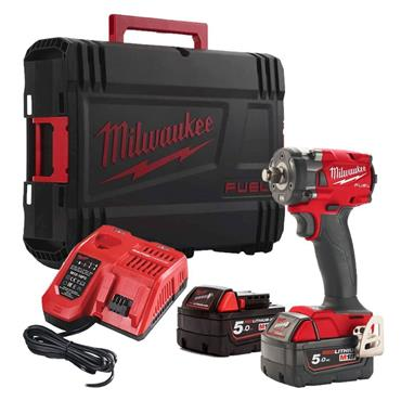M18 FIW2F38-502X Compact Impact Wrench, 2x 5Ah Batteries, Charger, Kit-Box