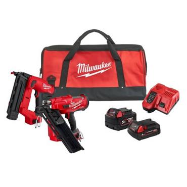 Milwaukee M18FPP2AR-522B M18 FUEL Nailer Twin Pack 1x 5Ah 1x 2Ah Batteries, Charger, Kit-Bag