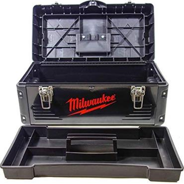 Milwaukee Heavy Duty Black Metal Toolbox with Tote Tray 490mm x 230mm x 230mm