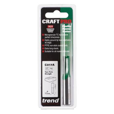 Trend CraftPro 1/2in Shank Two Flute Straight Router Cutter Bit 11mm diameter - C017AX1/2TC