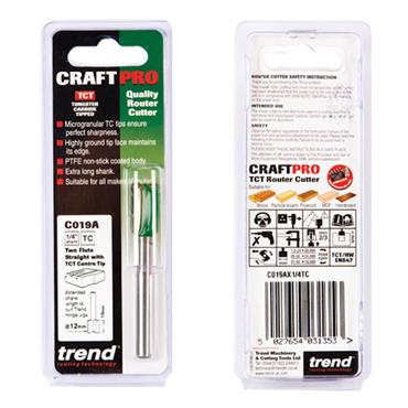 Trend Craft Pro 12mm x 19mm 1/4in shank router cutter bit for use with Hinge Jigs - C019AX1/4TC