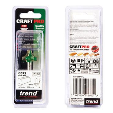 Trend Sash bar 7.9mm radius x 22.2mm cut  - C072X1/4TC