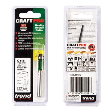 Trend Self guided trimmer 9.5mm diameter  - C115X1/4TC