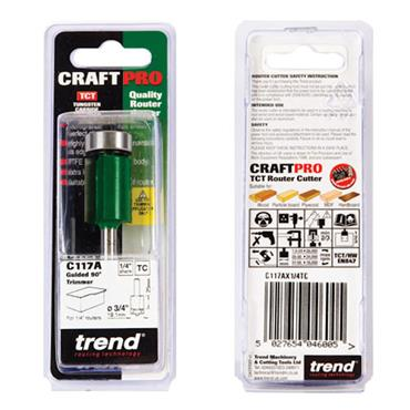 Trend Guided trimmer 19.1mm diameter  - C117AX1/4TC
