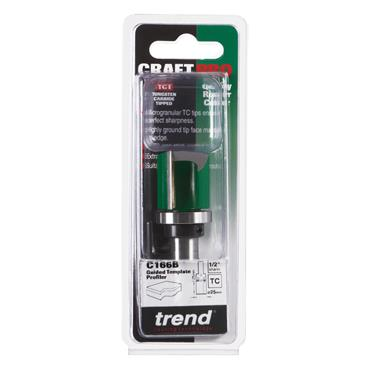 Trend CraftPro 1/2in  Bearing Guided Profiler 25mm dia x 25mm cut depth  - C166BX1/2TC