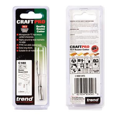 Trend Dowel drill 3mm x 14mm cut  - C180X1/4TC