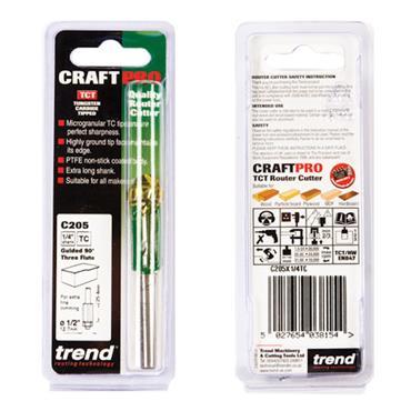 Trend Bearing guided three flute trimmer 12.7mm diameter 25mm length - C205X1/4TC