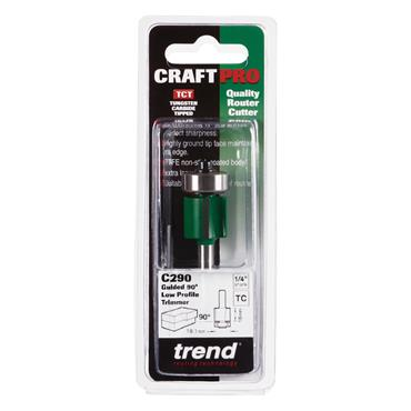 Trend CraftPro 1/4in  Low Profile Bearing Guided Trimmer 19.1 dia x 16mm cut depth - C290X1/4TC
