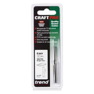 Trend CraftPro 1/4 Single Flute ABS/PVC 6.3mm dia x 25mm cut depth - C301X1/4TC
