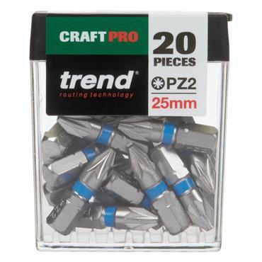 Trend Pozi Craft Pro 25mm Bit No2 Twenty Pack - CR/QR/IPZ2/20