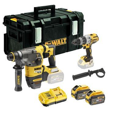 DeWalt DCK2033X2-GB, 18v-54v Twin Kit, Combi Drill, SDS+ Hammer Drill, Batteries, Charger, Kit-Box