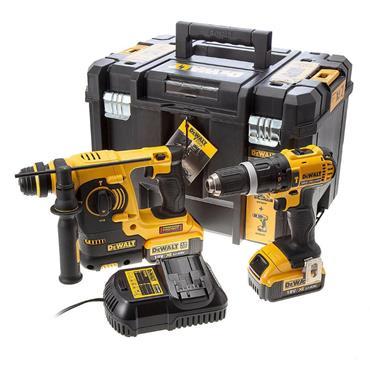 DeWaltDCK206M2T 18v Rotary SDS & Hammer Drill Twin Pack, 2x 4Ah Batteries, Charger, Kit-Box