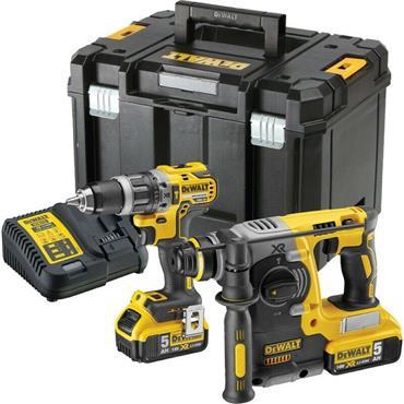 DeWalt DCK207P2T 18V XR Brushless Combi & SDS Twin Kit 2 x 5.0Ah, Charger, Kit-Box