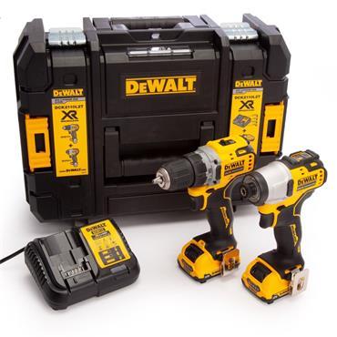 DeWalt 12v Brushless Twin Kit, Drill Driver, Impact Driver, 2x3Ah Batteries, Charger, Kit-Box