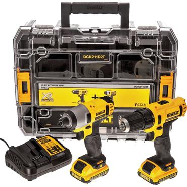 DeWalt DCK211D2T-GB, 10.8v Twin Kit, Combi Drill, Impact Driver , 2x2Ah Batteries, Charger, Kit-Box