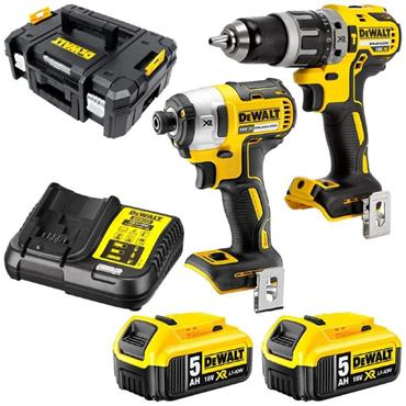 DeWalt DCK266P2T Combi Drill & Impact Driver, 18v Brushless Kit, 2x 5Ah Batteries, Charger, Kit Box