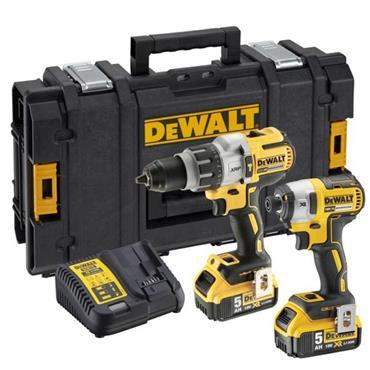 DeWalt DCK276P2 18v XR Brushless Twinpack, Hammer Drill & Impact Driver 2x 5Ah, Charger, Kit-Box