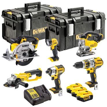 DeWalt DCK694P3 18 Volt XR Brushless 6 Piece Kit, 3 x5Ah Batteries, Charger, Kit-Boxes