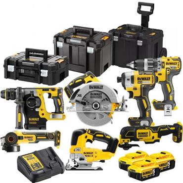 DeWalt DCK755P3T 7 Piece Brushless 18v Cordless Powertool Kit 3x 5Ah Batteries, Charger & Kit Boxes