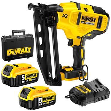 DeWalt DCN660P2 KB 18v 16 Guage Brushless 2nd Fix Nailer, 2x5Ah Batteries, Charger, Kit-Box