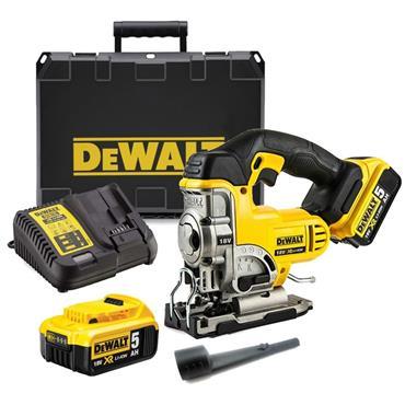 DeWalt DCS331P2 18v Top Handle Jigsaw, 2x 5Ah Batteries, Charger, Kit-Box