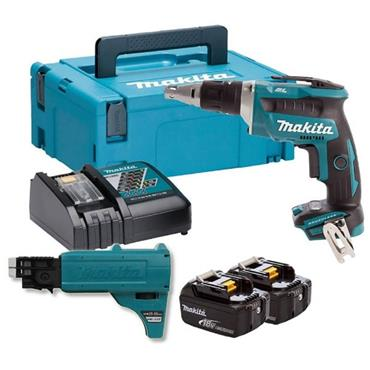 Makita DFS452FJX2 Brushless Drywall Screwdriver, Auto-feed Unit, 2x3Ah Batteries, Charger, Kit-Box