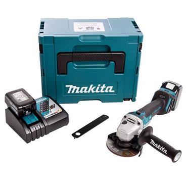 Makita DGA456RTJ 18V LXT Brushless 115mm Angle Grinder, 2x 5Ah Batteries, Charger, Kit-Box