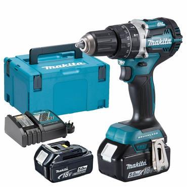 Makita DHP484RTJ 18v Brushless 2 Speed Blue Combi Drill, 2x 5Ah Batteries, Charger, Kit-Box