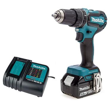 Makita DHP484STX5 18v LXT Brushless Combi Drill, 1 X 5aH Battery, Charger, 101 Piece Accessory Kit