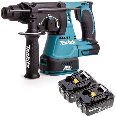 Makita DHR242RMJ 18v LXT 24mm Brushless SDS+ Rotary Hammer, 2X 5Ah Batteries, Charger, Kit-Box