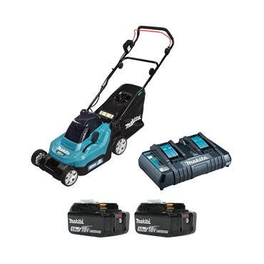 "Makita DLM382CT2 36V (18v x 2) 5.0Ah Li-ion Battery Cordless 380mm (15"") Lawn Mower Combo Kit"