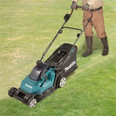 "Makita DLM432CT2 36V (18v x 2) 5.0Ah Li-ion Battery Cordless 430mm (17"") Lawn Mower Combo Kit"