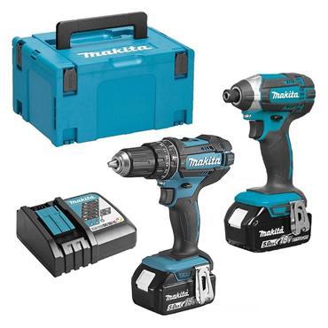 Makita DLX2131TJ 18v Twin Kit Combi Drill & Impact Driver, 2x 5.0Ah Batteries, Charger & Kit-Box