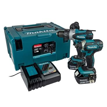 Makita DLX2145TJ 18v Twin Kit, Combi Drill & Impact Driver, 2x 5.0Ah Batteries, Charger & Carry Case