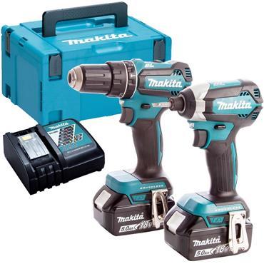 Makita DLX2283TJ 18v Twin Pack, Combi Drill & Impact Driver, 2x 5Ah Batteries, Charger, Kit-Box