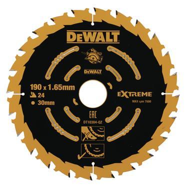 DeWalt EXTREME 2ND FIX CIRCULAR SAW BLADE 190MM 30MM BORE 24T
