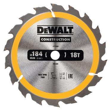 DEWALT CONSTRUCTION CIRCULAR SAW BLADE STATIONARY - FAST CUT 184MM 18T