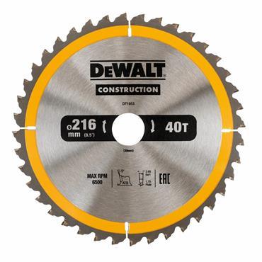 DEWALT DT1953-QZ CIRCULAR SAW BLADE CONSTRUCTION 216MM X 30MM X 40 TEETH