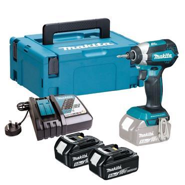 Makita DTD153RTJ 18v Brushless Impact Driver, 2x 5Ah Batteries, Charger, Kit-Box