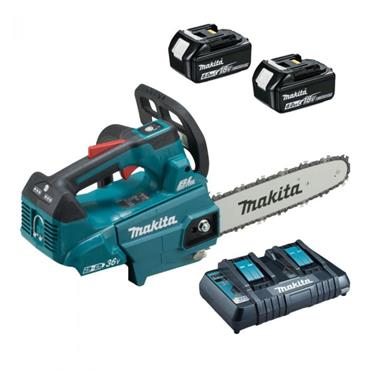 "Makita DUC256PG2 10"" (250mm) Twin 18v Brushless Chainsaw, 2x 6Ah Batteries. Twin Charger"