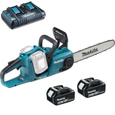 Makita DUC353PG2 18v x2 Brushless Cordless 350mm Chainsaw, 2x6Ah Batteries, Twin Port Charger