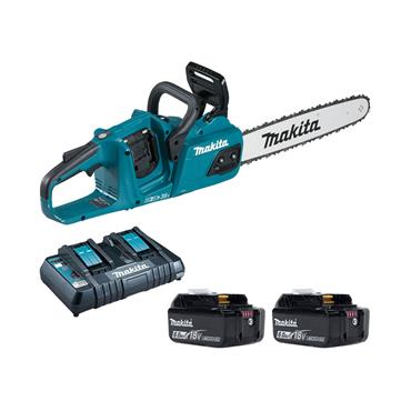 "Makita DUC405PG2 16"" (400mm) Twin 18v LXT Brushless Chainsaw,2x 6Ah Batteries, Duel Charger."