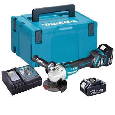 Makita 18v DGA467RTJ, 115mm Grinder, 2x 5Ah Batteries, Charger, Kit-Box